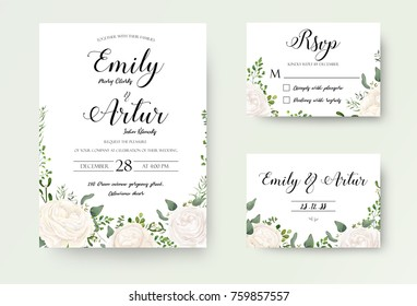 Wedding Invitation floral invite Rsvp cute card vector Designs set: white garden Ranunculus, Rose flower, fern, eucalyptus, mistletoe green leaf & berry romantic trendy greenery forest bouquet