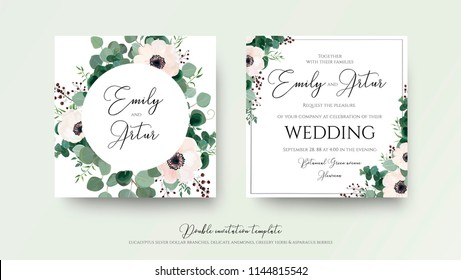 Wedding Invitation, floral invite square card Design: light pink anemone flower, green eucalyptus greenery branches, thyme leaves & berries wreath and frame pattern. Vector, modern watercolor template