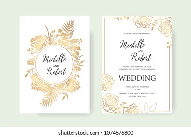 Wedding invitation, floral invite thank you. Label card vector floral design. Golden foil print pattern of forest leaves, palm, fern fronds, eucalyptus branches. Vector elegant template