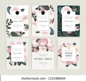 Wedding Invitation, floral invite thank you, rsvp modern card Design template in pink peony with golden rose and tropical palm leaf greenery eucalyptus branches decorative Vector elegant.