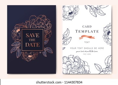 Wedding Invitation, floral invite thank you, rsvp modern card Design in copper peony with navy blue and tropical palm leaf greenery eucalyptus branches decorative Vector elegant rustic template