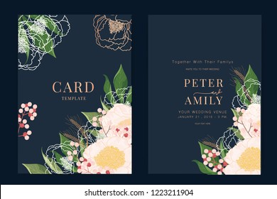 Wedding Invitation, floral invite thank you, rsvp modern card Design in pink peony with red berry and leaf greenery  branches decorative Vector elegant rustic template