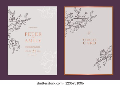Wedding Invitation, floral invite thank you, rsvp modern card Design in white magnolia with Metallic text and leaf greenery  branches decorative Vector elegant rustic template