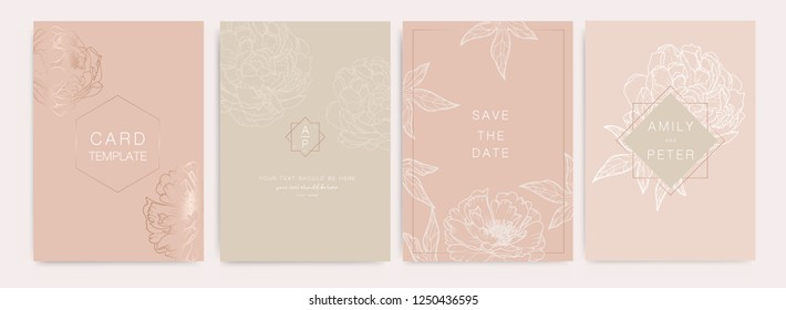 Wedding Invitation, floral invite thank you, rsvp modern card Design in white Peony with metallic and leaf greenery  branches decorative Vector elegant rustic template