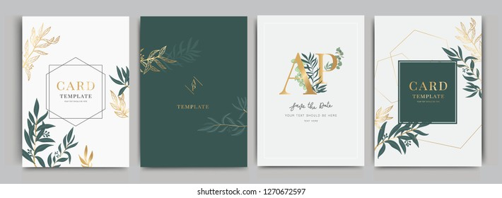 Wedding Invitation, floral invite thank you, rsvp modern card Design in golden and leaf greenery  branches decorative Vector elegant rustic template