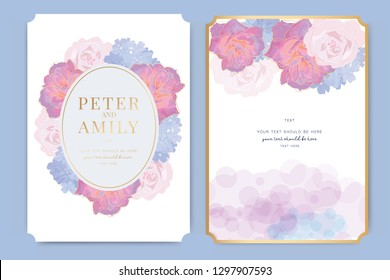 Wedding Invitation, floral invite thank you, rsvp modern card Design in pink rose decorative Vector elegant rustic template