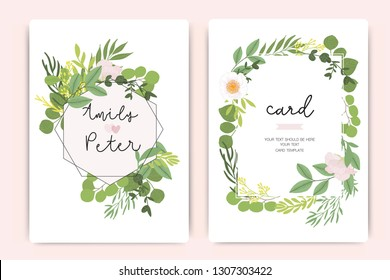 Wedding Invitation, floral invite thank you, rsvp modern card Design in little pink flower and summer leaf greenery  branches decorative Vector elegant rustic template
