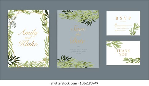 Wedding Invitation, floral invite thank you, rsvp modern card Design in green olive with leaf greenery  branches decorative Vector elegant rustic template