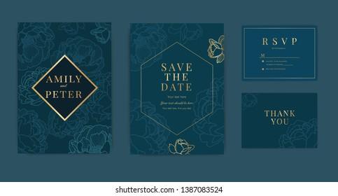 Wedding Invitation, floral invite thank you, rsvp modern card Design in golden peony decorative Vector elegant rustic template