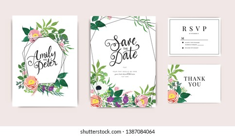 Wedding Invitation, floral invite thank you, rsvp modern card Design in pink peony with purple flower and leaf greenery  branches decorative Vector elegant rustic template