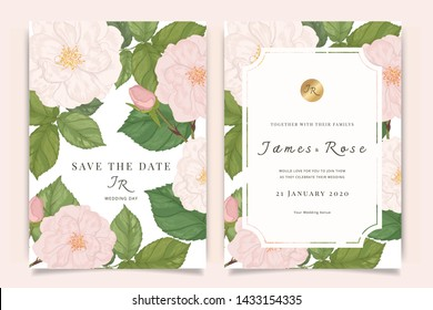 Wedding Invitation, floral invite thank you, rsvp modern card Design in Sweet pink Rose with leaf greenery  branches decorative Vector elegant rustic template