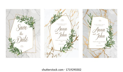 Wedding Invitation, floral invite thank you, rsvp modern card Design: cute greenery herbal decoration on the marble backgrounds with a golden geometric frame. Marble Wedding invitation.