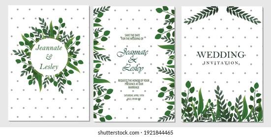 Wedding invitation floral invite thank you card modern design green tropical leaf, vector elegant watercolor template