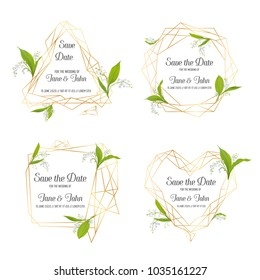 Wedding Invitation Floral Template Set. Save the Date Frames with Place for your Text and Lily Valley Flowers. Greeting Cards, Posters, Banners. Vector illustration