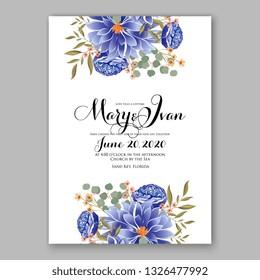 Wedding invitation floral vector template blue Ranunculus peony Chrysanthemum anemone bridal shower card baby shower invitation