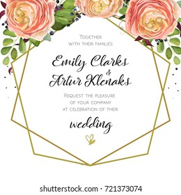 Wedding Invitation, floral watercolor invite card Design with pink peach Ranunculus flowers, blue berry forest fern greenery. Elegant  bouquet garland geometric golden frame print. Lovely, cute vector