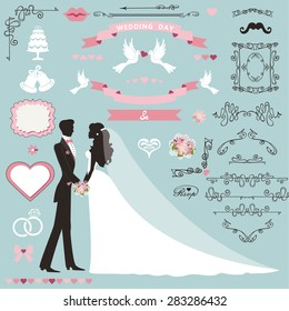 Wedding invitation flourish decor set.Cartoon couple bride in white dress and groom.Swirling borders, ribbon,icons,heart,label.Design template kit,save date card.Vintage Vector Illustration,flat.