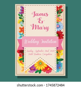 wedding invitation flower chic and cute vector illustration