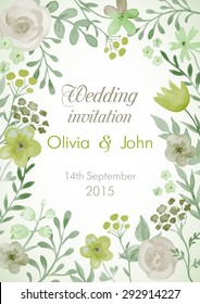 Wedding invitation with flowers and leaves. Watercolor hand painting vector frame.