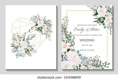 Hochzeitseinladung mit Blumen, Peony und Roses, Aquarell einzeln auf Weiß. Vektorwasserfarbe.