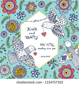 Wedding invitation with flowers and pigeons. Romantic, gentle, in love design.