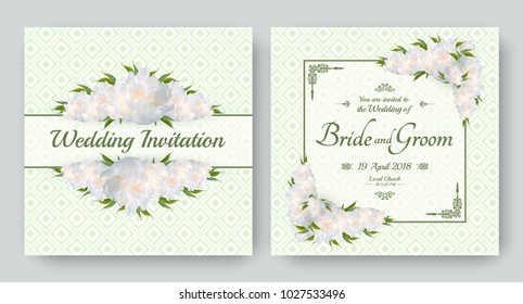 Wedding invitation with flowers of realistic white peony. Floral vector card set for bridal shower, save the date and other marriage celebration. Spring motive.
