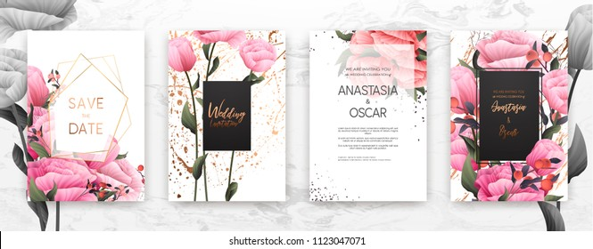 Wedding invitation frame set; flowers, leaves, watercolor, minimal vector. Sketched wreath, floral and herbs garland with rose, green, greenery color. Handdrawn Vector Watercolour style, nature art.