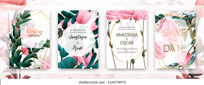 Wedding invitation frame set; flowers, succulent, eucalyptus leaves, watercolor, minimal vector. Sketched wreath, floral and herbs garland with rose, green, greenery color. Handdrawn Watercolour style