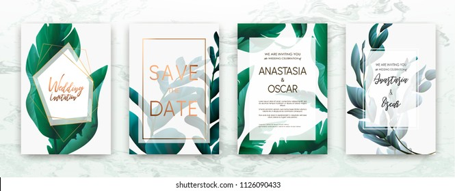 Wedding invitation frame set: flowers, palm,succulent, eucalyptus leaves, watercolor, minimal vector. Sketched wreath, floral and herbs garland with green, greenery color. Drawn Watercolour style