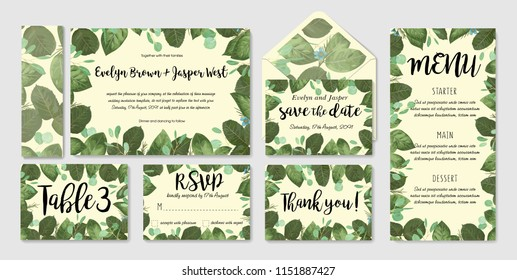 Wedding invitation frame set; flowers, leaves, watercolor. Sketched wreath, floral and herbs garland with green, greenery color. Handdrawn Vector Watercolour style, nature art.