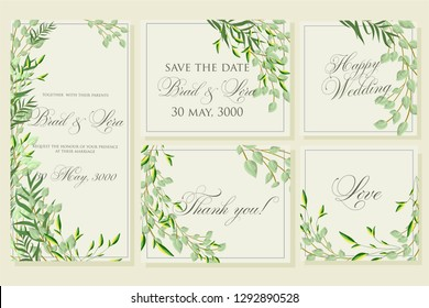 Wedding invitation frame set; flowers, leaves,  isolated on white.Vector