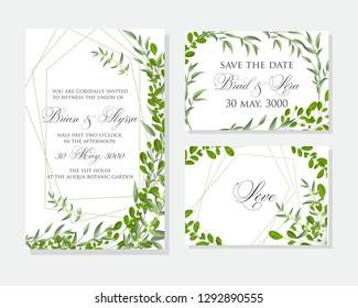 Wedding invitation frame set; flowers, leaves,  isolated on white.Vector