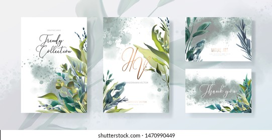 Wedding invitation frame set, flowers, leaves, watercolor minimal vector. Sketched wreath, floral, herbs garland. Card with rose, green, greenery colors. Handdrawn Vector Watercolour style, nature art