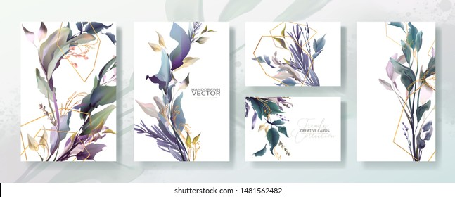 Wedding invitation frame set, flowers, leaves, mess and watercolor minimal vector. Sketched wreath, floral, herbs garland. Card with gold, gems, spots. Handdrawn Vector Watercolour style