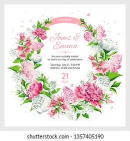 Wedding invitation. Frame with text and flowers - pink and white Rose, Peony, Campanula and Lilac isolated on white Background.