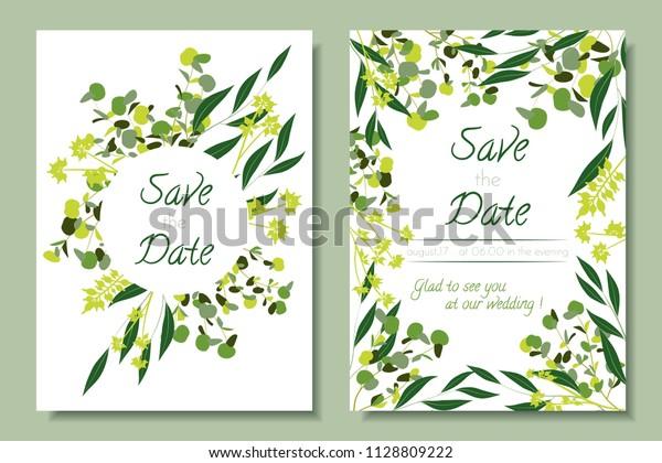 Wedding Invitation Frames Eucalyptus Leaves Elegant Stock Vector
