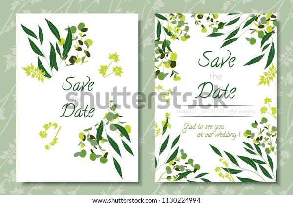 Wedding Invitation Frames Eucalyptus Leaves Elegant Stock