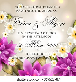 Wedding invitation with frangipani and plumeria flowers