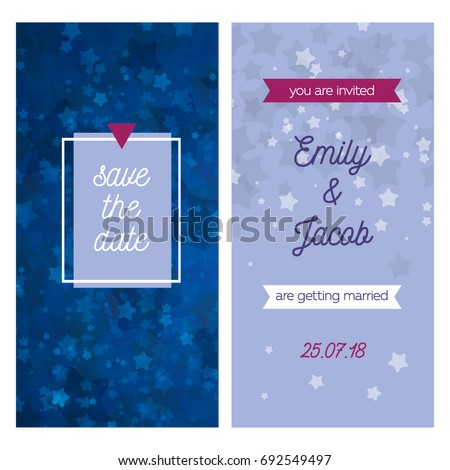 Wedding Invitation Front Back Save Date Stock Vector Royalty Free