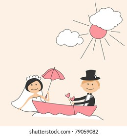 Wedding invitation with funny bride and groom in boat