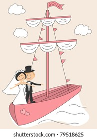 Wedding invitation with funny bride and groom in sailfish