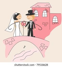 Wedding invitation with funny bride and groom on bridge