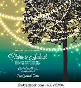 Wedding invitation with glowing lights on the tree. Garden party invitation. Inspiration card for wedding, date, birthday, tea party