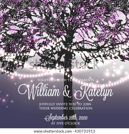 Wedding Invitation Glowing Lights On Tree Stock Vector Royalty Free