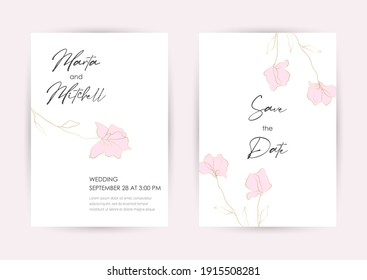 Wedding Invitation with Gold Flowers and gold geometric line design. Cover design with an ornament of golden leaves. vector eps10