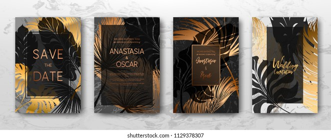 Wedding invitation with Gold palm leaves, black, white marble template, artistic covers design, colorful texture, leaf backgrounds. Trendy pattern, graphic gold brochure. Luxury Vector illustration.