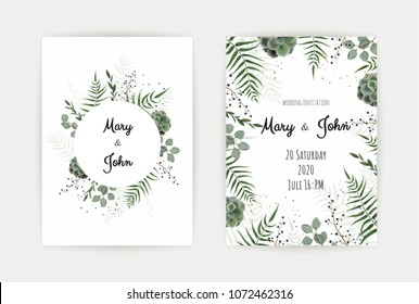 Wedding Invitation with green leaf , eucalyptus branches, decorative wreath frame pattern. Vector elegant watercolor rustic template.