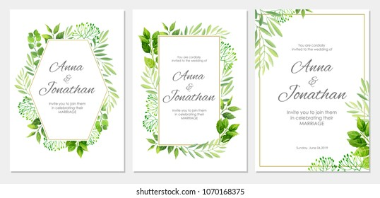 Wedding invitation with green leaves border. Floral invite modern card template set. Vector illustration.