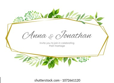 Wedding invitation with green leaves border and geometric frame. Floral invite modern card template. Vector illustration.