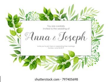 Wedding invitation with green leaves border. Vector illustration.